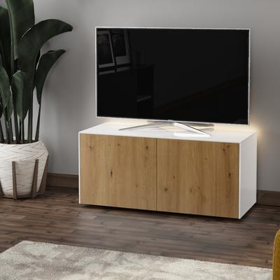 High Gloss White and Oak Effect TV Cabinet 110cm with Wireless Phone Charging, LED Mood Lighting and Remote Control Eye image 3