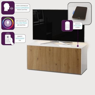 High Gloss White and Oak Effect TV Cabinet 110cm with Wireless Phone Charging, LED Mood Lighting and Remote Control Eye image 4