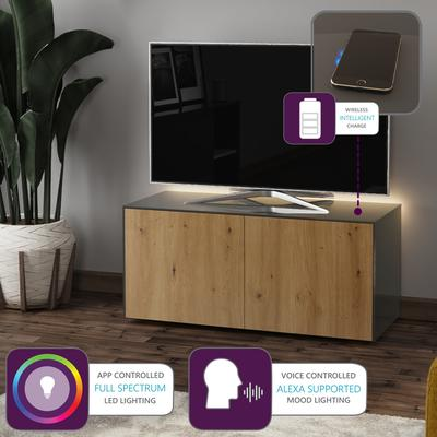 High Gloss Grey and Oak Effect TV Cabinet 110cm with Wireless Phone Charging, LED Mood Lighting and Remote Control Eye image 2