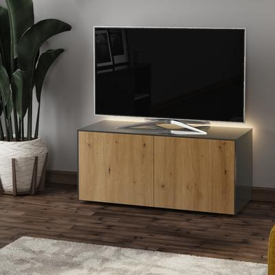 High Gloss Grey and Oak Effect TV Cabinet 110cm with Wireless Phone Charging, LED Mood Lighting and Remote Control Eye image 3