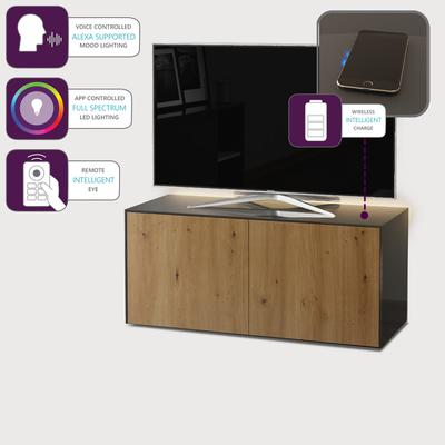 High Gloss Grey and Oak Effect TV Cabinet 110cm with Wireless Phone Charging, LED Mood Lighting and Remote Control Eye image 4