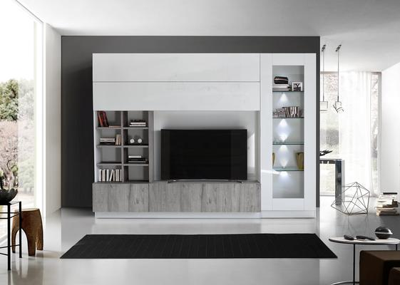 Ferrara Wall Unit with 4 LED Spotlights - Gloss White and Grey Oak