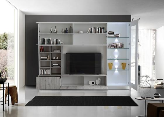 Ferrara Wall Unit with Four LED Spotlights - Gloss White and Grey Oak  image 2