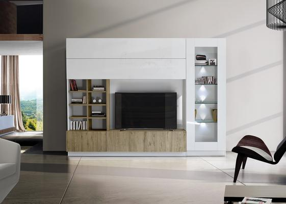 Ferrara Wall Unit with Four LED Spotlights - Gloss White and Honey Oak