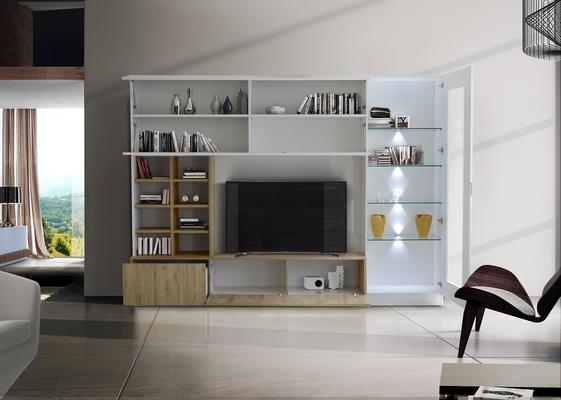 Ferrara Wall Unit with Four LED Spotlights - Gloss White and Honey Oak image 2