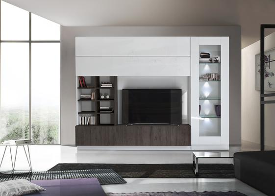 Ferrara Wall Unit with Four  LED Spotlights - Gloss White and Wenge Oak