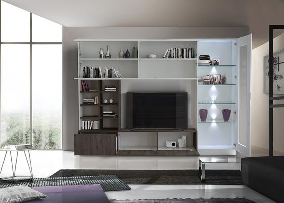 Ferrara Wall Unit with Four  LED Spotlights - Gloss White and Wenge Oak image 2
