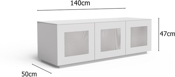 High Gloss White TV cabinet 140 cm with remote friendly doors image 2