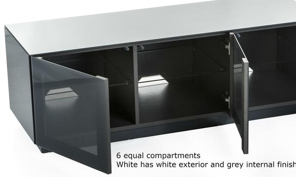 High Gloss White TV cabinet 140 cm with remote friendly doors image 3