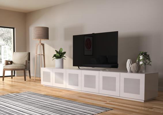 Modern extra wide 2.8m TV cabinet in high gloss white