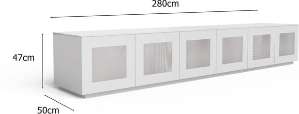 Modern extra wide 2.8m TV cabinet in high gloss white image 3