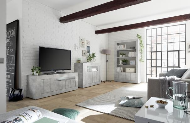 Como Three Door TV Unit - Grey Finish image 2