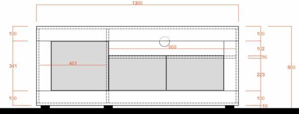 Como Three Door TV Unit - Grey Finish image 3