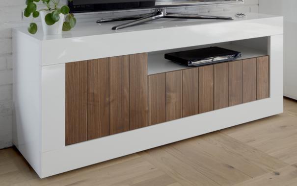 Como Three Door TV Unit Inc. LED Spot Light - White Gloss/Dark Walnut Finish