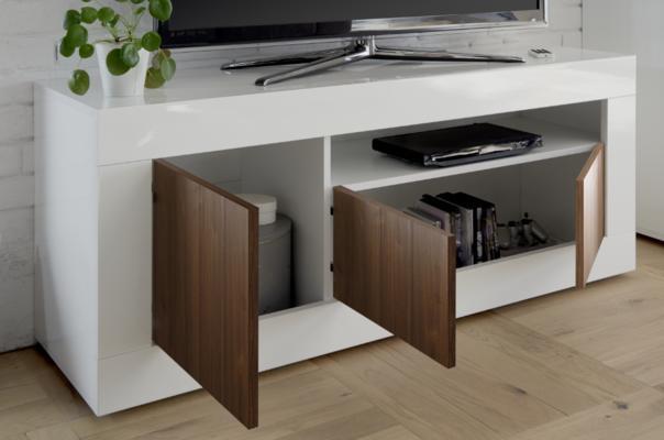 Como Three Door TV Unit - White Gloss and Dark Walnut Finish image 3