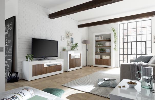 Como Three Door TV Unit Inc. LED Spot Light - White Gloss/Dark Walnut Finish image 3