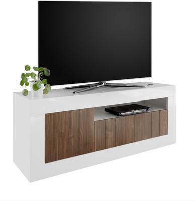 Como Three Door TV Unit - White Gloss and Dark Walnut Finish