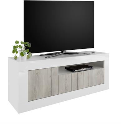 Como Three Door TV Unit - White Gloss and White Pine Finish