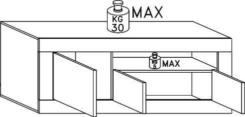 Como Three Door TV Unit - White Gloss and White Pine Finish image 5