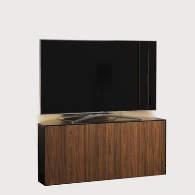 High Gloss Black and Walnut Effect Corner TV Cabinet 110cm with Wireless Phone Charging, LED Mood Lighting and Remote Control Eye
