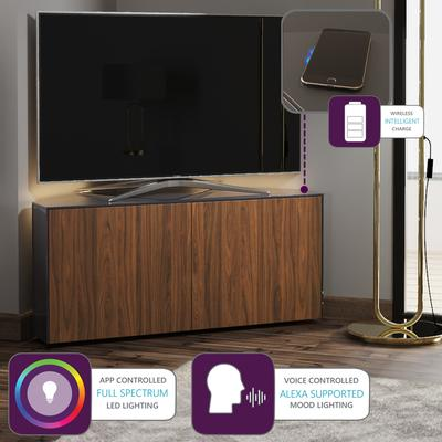 High Gloss Black and Walnut Effect Corner TV Cabinet 110cm with Wireless Phone Charging, LED Mood Lighting and Remote Control Eye image 2