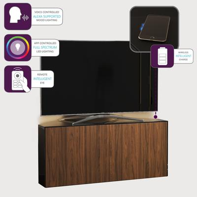 High Gloss Black and Walnut Effect Corner TV Cabinet 110cm with Wireless Phone Charging, LED Mood Lighting and Remote Control Eye image 3
