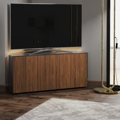 High Gloss Black and Walnut Effect Corner TV Cabinet 110cm with Wireless Phone Charging, LED Mood Lighting and Remote Control Eye image 4