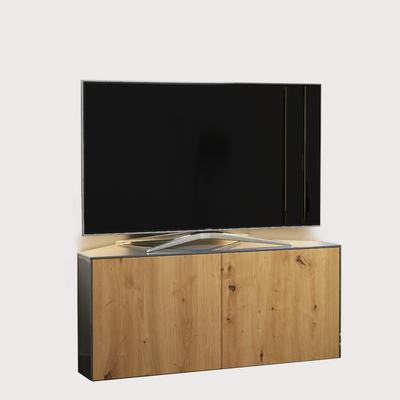 High Gloss Grey and Oak Effect Corner TV Cabinet 110cm with Wireless Phone Charging, LED Mood Lighting and Remote Control Eye