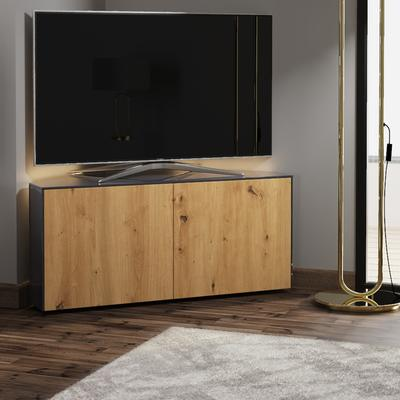 High Gloss Grey and Oak Effect Corner TV Cabinet 110cm with Wireless Phone Charging, LED Mood Lighting and Remote Control Eye image 2
