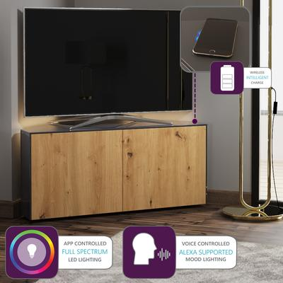 High Gloss Grey and Oak Effect Corner TV Cabinet 110cm with Wireless Phone Charging, LED Mood Lighting and Remote Control Eye image 6