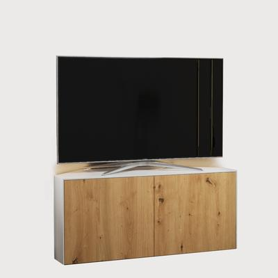 High Gloss White and Oak Effect Corner TV Cabinet 110cm with Wireless Phone Charging, LED Mood Lighting and Remote Control Eye