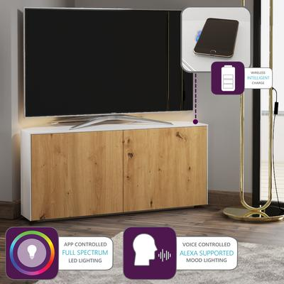 High Gloss White and Oak Effect Corner TV Cabinet 110cm with Wireless Phone Charging, LED Mood Lighting and Remote Control Eye image 2