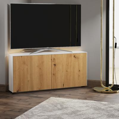 High Gloss White and Oak Effect Corner TV Cabinet 110cm with Wireless Phone Charging, LED Mood Lighting and Remote Control Eye image 3