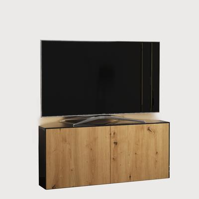 High Gloss Black and Oak Effect Corner TV Cabinet 110cm with Wireless Phone Charging, LED Mood Lighting and Remote Control Eye