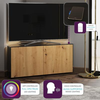 High Gloss Black and Oak Effect Corner TV Cabinet 110cm with Wireless Phone Charging, LED Mood Lighting and Remote Control Eye image 2