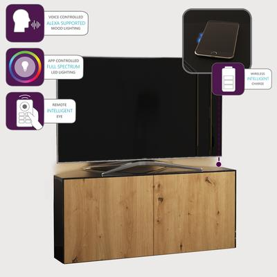 High Gloss Black and Oak Effect Corner TV Cabinet 110cm with Wireless Phone Charging, LED Mood Lighting and Remote Control Eye image 4