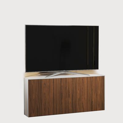 High Gloss White and Walnut Effect Corner TV Cabinet 110cm with Wireless Phone Charging, Remote Control Eye and LED Mood Lighting