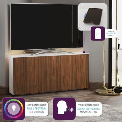 High Gloss White and Walnut Effect Corner TV Cabinet 110cm with Wireless Phone Charging, Remote Control Eye and LED Mood Lighting image 2