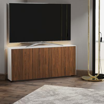 High Gloss White and Walnut Effect Corner TV Cabinet 110cm with Wireless Phone Charging, Remote Control Eye and LED Mood Lighting image 3