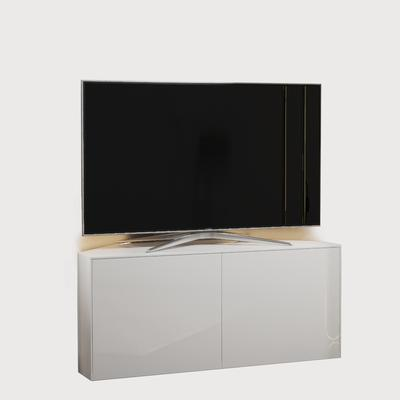 High Gloss White Corner TV Cabinet 110cm with Wireless Phone Charging, LED Mood Lighting and Remote Control Eye