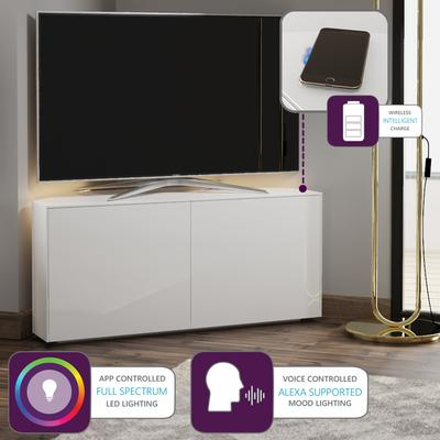 High Gloss White Corner TV Cabinet 110cm with Wireless Phone Charging, LED Mood Lighting and Remote Control Eye image 2
