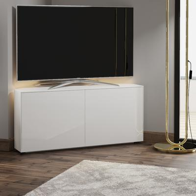 High Gloss White Corner TV Cabinet 110cm with Wireless Phone Charging, LED Mood Lighting and Remote Control Eye image 3