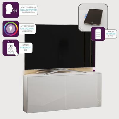 High Gloss White Corner TV Cabinet 110cm with Wireless Phone Charging, LED Mood Lighting and Remote Control Eye image 4