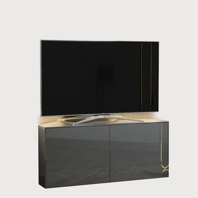 High Gloss Grey Corner TV Cabinet 110cm with Wireless Phone Charging, LED Mood lighting and Remote Control Eye
