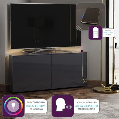 High Gloss Grey Corner TV Cabinet 110cm with Wireless Phone Charging, LED Mood lighting and Remote Control Eye image 2
