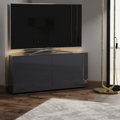 High Gloss Grey Corner TV Cabinet 110cm with Wireless Phone Charging, LED Mood lighting and Remote Control Eye image 3