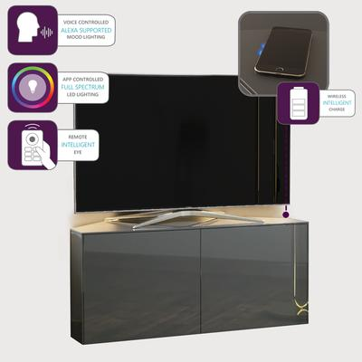 High Gloss Grey Corner TV Cabinet 110cm with Wireless Phone Charging, LED Mood lighting and Remote Control Eye image 4