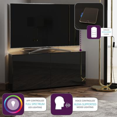 High Gloss Black Corner TV Cabinet 110cm with Wireless Phone Charger and LED Mood Lighting image 2