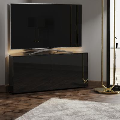 High Gloss Black Corner TV Cabinet 110cm with Wireless Phone Charger and LED Mood Lighting image 3