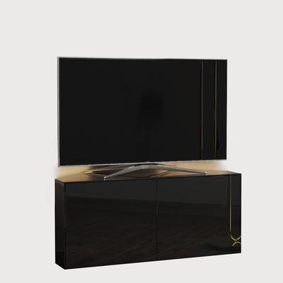 High Gloss Black Corner TV Cabinet 110cm with Wireless Phone Charger and LED Mood Lighting